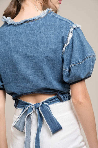 Cinched Denim Crop Top - Sueño Clothing