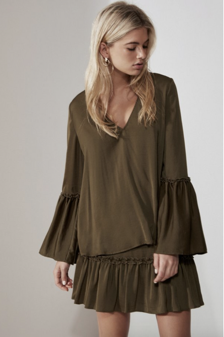 Embroidered Ruffle Hem Top