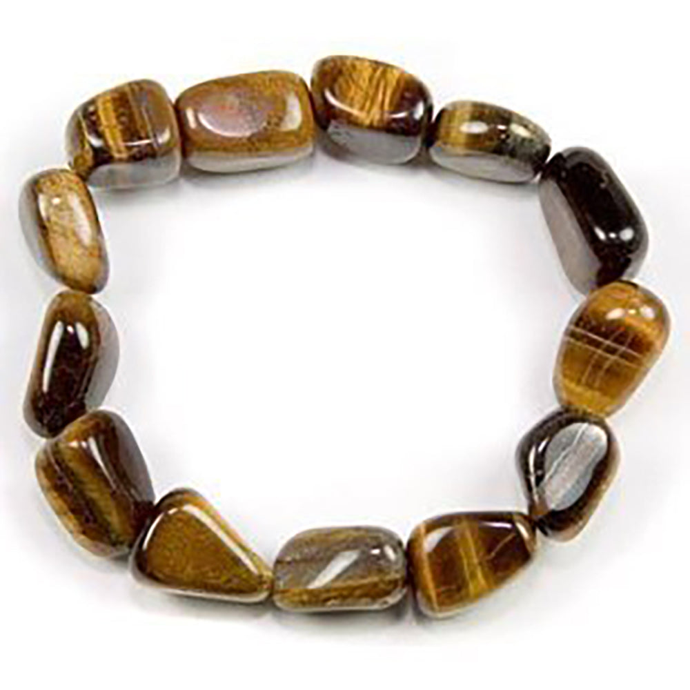 Beautiful Simulated Tiger Eye Tumbled Gemstone Stretch Bracelet - dinosaursrocksuperstore