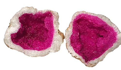 "Fuchsia Pink Split Geode - Dyed-Quartz Crystals - 2 Matching Puzzle Pieces - 7"" Wide - Amazing Rock & Mineral Gift - dinosaursrocksuperstore"