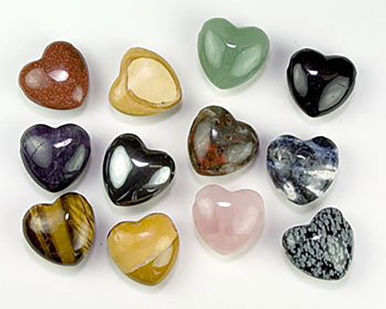Genuine Gemstone Heart Shaped drilled Pendants - Variety Set of 5 - dinosaursrocksuperstore