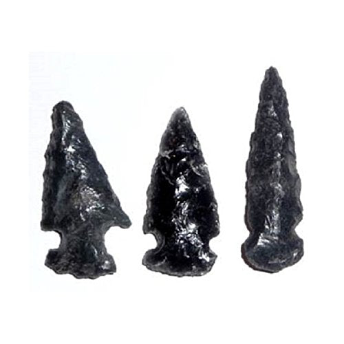Three Obsidian Replica Arrowheads Hand-Chipped 1-2 Inch w Info Card