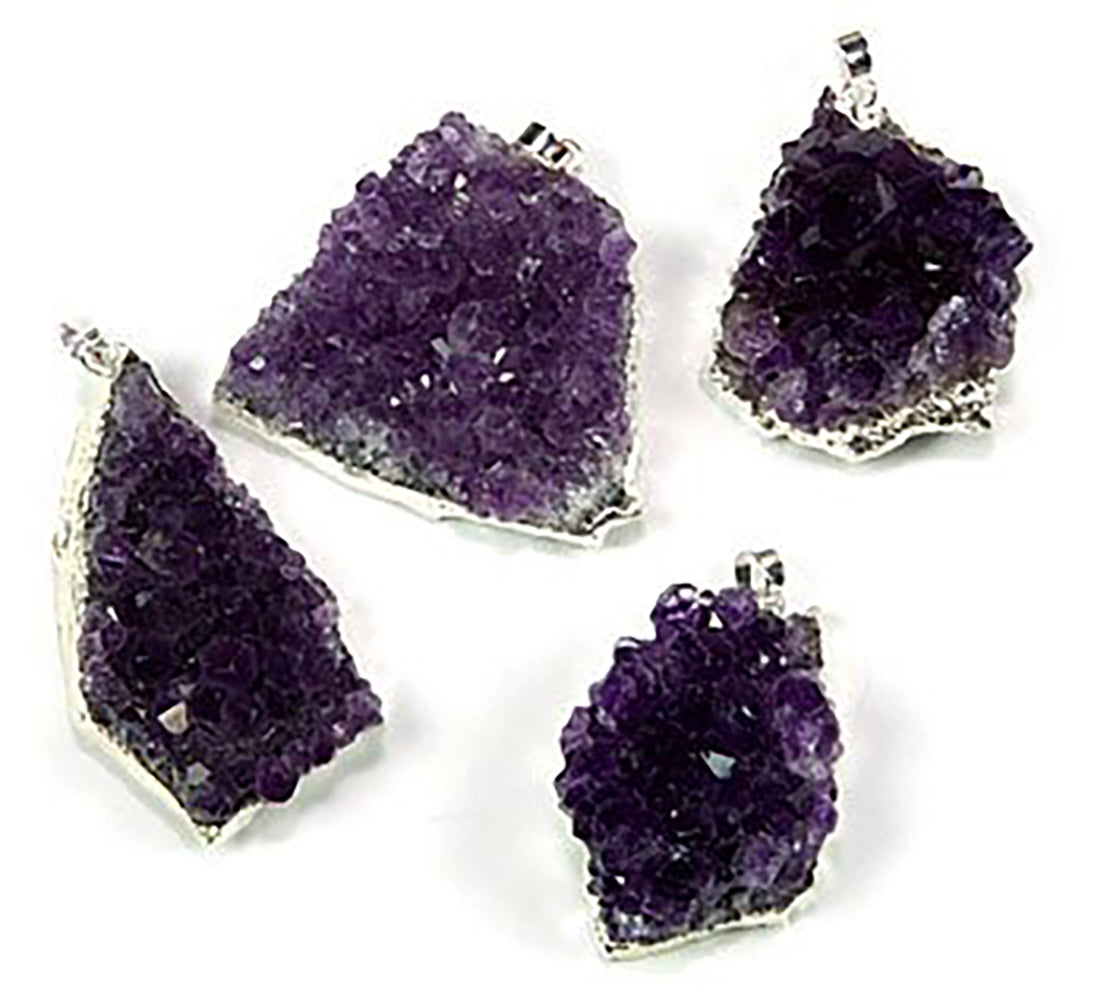 Silver Plated Amethyst Cluster Pendant with Silver Trim - Gift Boxed! - dinosaursrocksuperstore