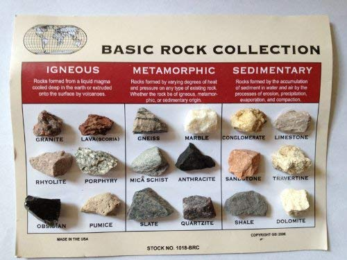 Rock Collection and ID Chart - 18 Rocks - Igneous, Metamorphic, Sedimentary - dinosaursrocksuperstore