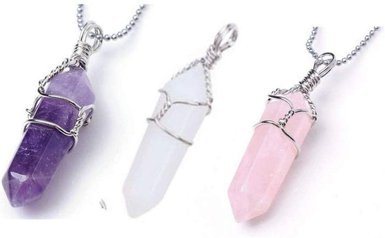 3 Double Terminated Wire Wrapped Pendant One Each of Amethyst, Quartz and Rose Quartz Pendants - dinosaursrocksuperstore