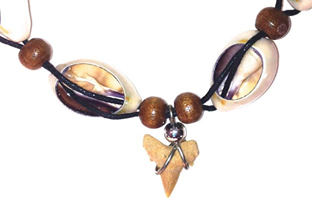 "Fossil Shark Tooth Necklace with White Shells and Brown Beads - 18"" - dinosaursrocksuperstore"