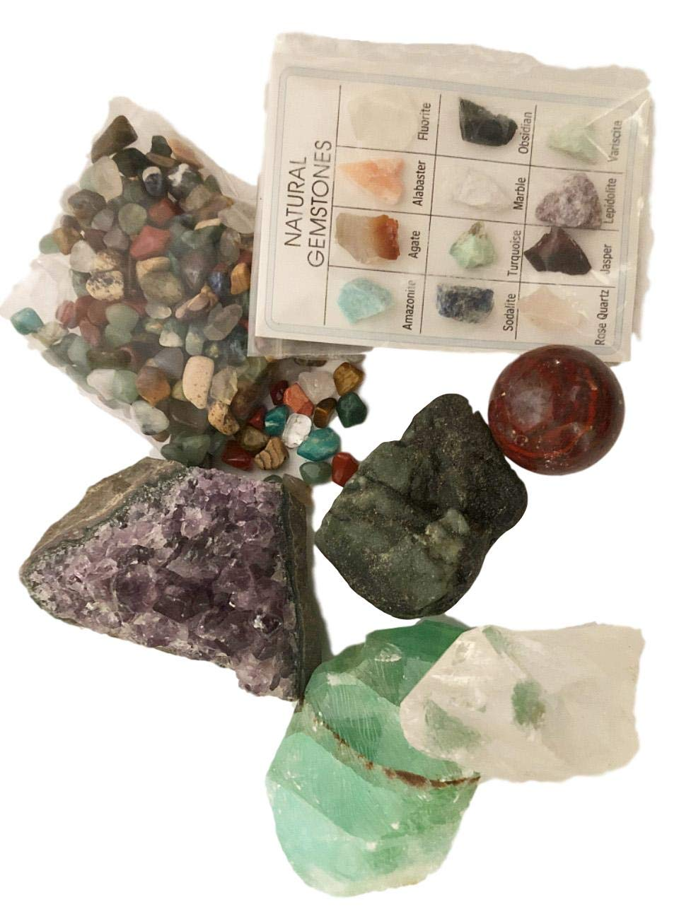 Rock & Mineral Gift Collection - Real Emerald, Amethyst, Calcite, Quartz, Jasper and Polished agates with Bonus Mineral ID Chart - 100+ Pieces with Gift Box - dinosaursrocksuperstore