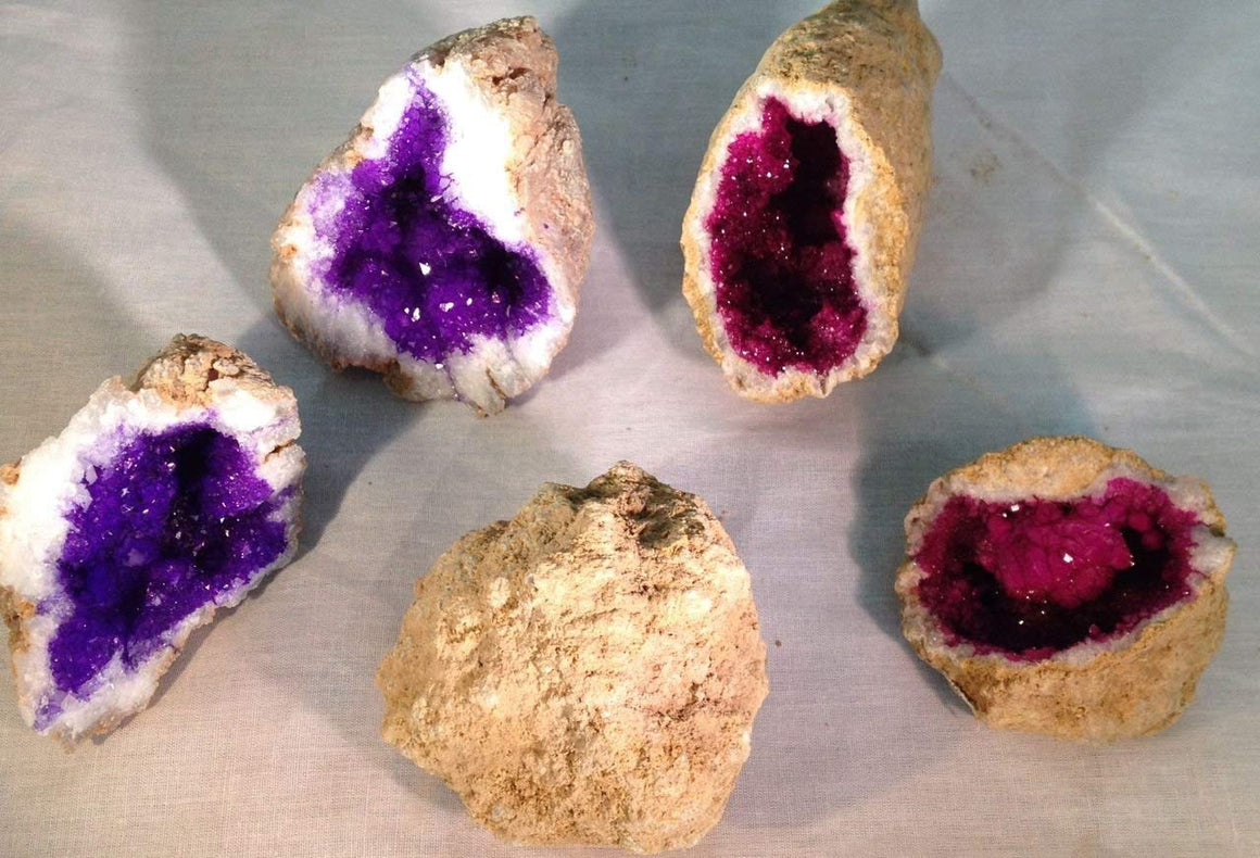 Geode Collection Gift Pack Kit - Set of 3 - Purple, Fuchsia and Natural - Gift Boxed! - dinosaursrocksuperstore