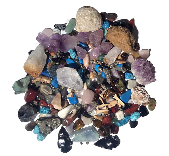 Mineral Collection Activity Kit - 150+ Pieces - with Educational Info and ID Chart - Bonus Geode & Spinosaurus Dino Tooth and much more.... - dinosaursrocksuperstore