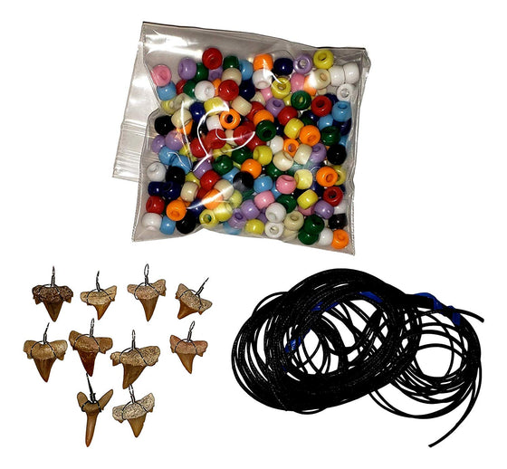 Make-Your-Own Fossil Shark Tooth Necklace Kits - Set of 10 - dinosaursrocksuperstore
