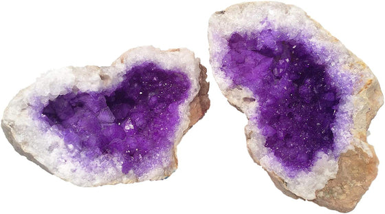 Amethyst Purple Split Geode - Dyed Quartz Crystals - 2 Matching Puzzle Pieces - Amazing Rock and Mineral Gift - dinosaursrocksuperstore