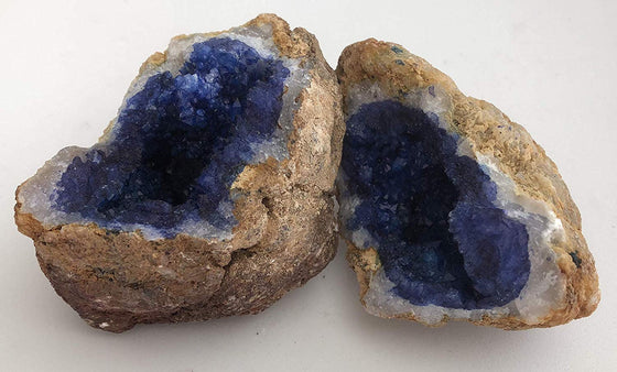 Vivid Blue Dyed Quartz Crystal Geode - Split Into 2 Matching Puzzle Pieces - Dazzling! - dinosaursrocksuperstore