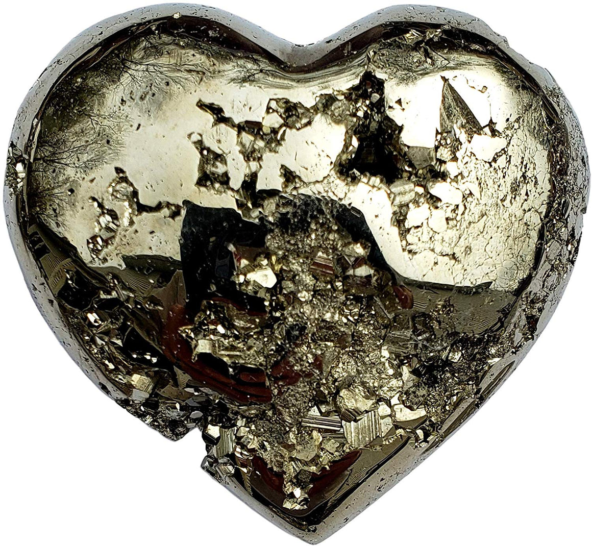 Genuine Pyrite Carved Heart - Gift Packaged - dinosaursrocksuperstore