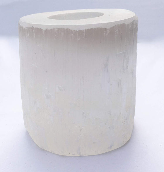 Selenite Crystal Candle Holder by DINOSAURS ROCK® - dinosaursrocksuperstore