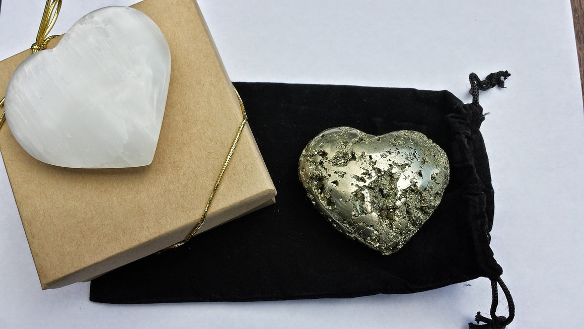 "Crystal Heart Pair - 1 Selenite 1 Pyrite - 2 3/4"" Each - Gift Packaged - from Gold, Clear - dinosaursrocksuperstore"