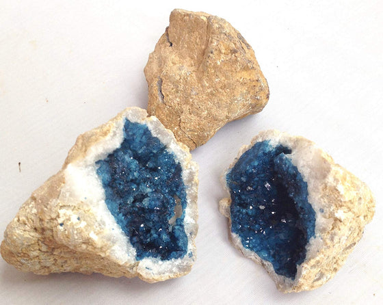 Turquoise Blue Dyed Purple Split Geode - Quartz Crystals - 2 Matching Puzzle Pieces - Awesome Color! - dinosaursrocksuperstore