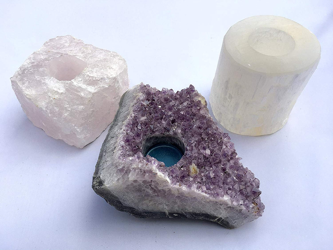 Set of 3 Mineral Candle Holders - Amethyst, Selenite and Rose Quartz - dinosaursrocksuperstore