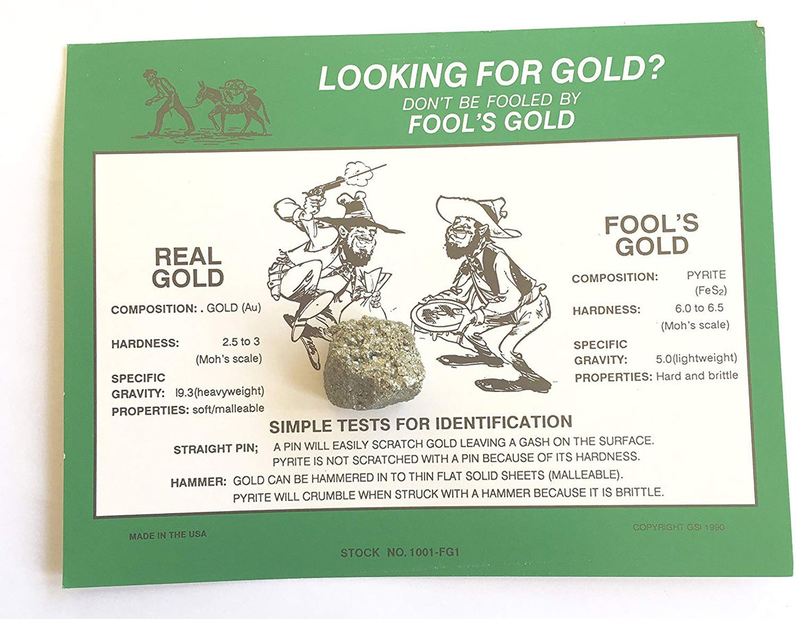 Fool's Gold vs. Real Gold ID Card with Real Pyrite (Fool's Gold) - Science Fair Resource, Great Gift - dinosaursrocksuperstore