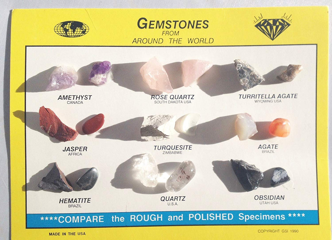 Rock & Mineral Collection ID Chart - 18 Gemstones! - 9 Types - Great for Science Fair Projects - dinosaursrocksuperstore