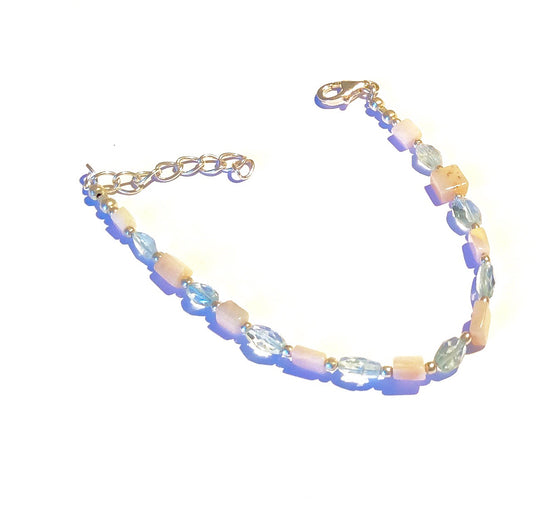 Sterling Gemstone Bracelet - Aquamarine & Rose Quartz