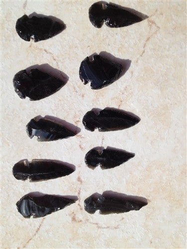 "ARROWHEADS - Real Black Obsidian - Set of 6 - 2""-3"" - dinosaursrocksuperstore"