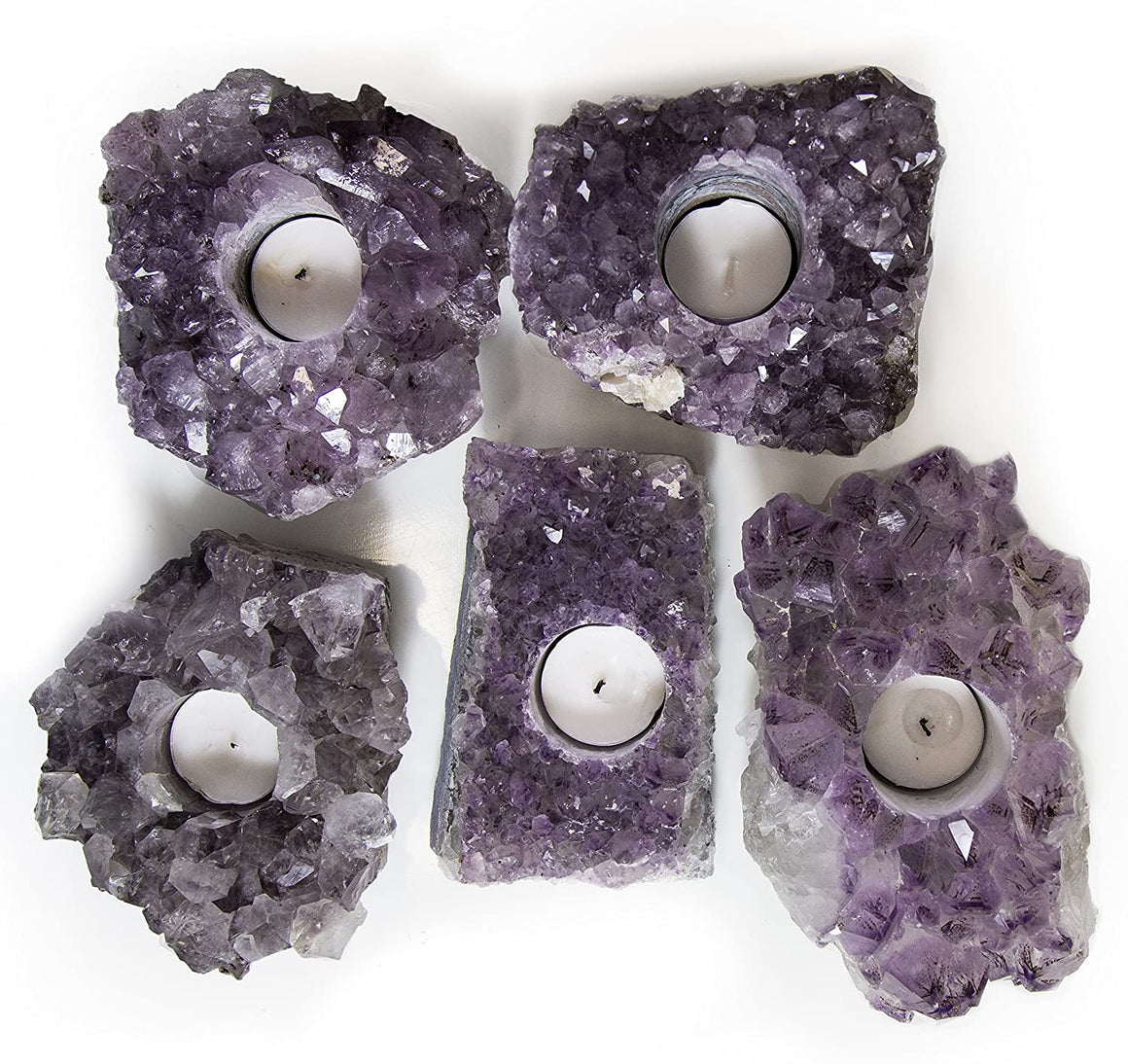 "Amethyst Crystal Candle Holder - 5""-7"" wide - with gift box"