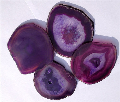 """Amethyst"" purple dyed Sliced Agate Coasters - set of 4 (Gifts & Decor) - dinosaursrocksuperstore"