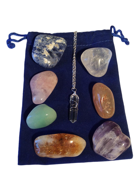 Chakra Healing Stones - FREE Shipping,  FREE Velvet Pouch & FREE Quartz Crystal Necklace - dinosaursrocksuperstore