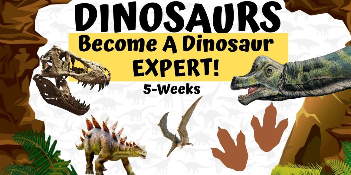 DINOSAURS ROCK Virtual Dino Expert Museum Class - 5 weeks - w/ Activity Supplies - Saturdays, 1pm starting 10/24