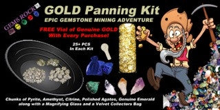 Gold Rush Panning & Gemstone Mining Kit - 25+ real gemstones - dinosaursrocksuperstore