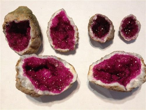 Geode  - Split - Fuschia Pink crystals - 2 puzzle pieces - dinosaursrocksuperstore