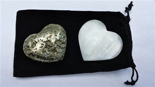 Pair of Crystal Hearts - Selenite & Pyrite - dinosaursrocksuperstore