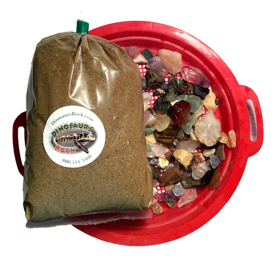 Gemstone Mining Prospecting Kit - 5 lb Sluice Bag and Sand Sifter - Dozens of Real Minerals and Gemstones