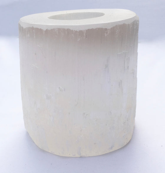 Selenite Crystal Candleholder - Gift packaged! - dinosaursrocksuperstore