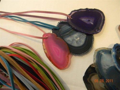 Drilled Agate Pendants - set of 3 - with faux suede cords - dinosaursrocksuperstore