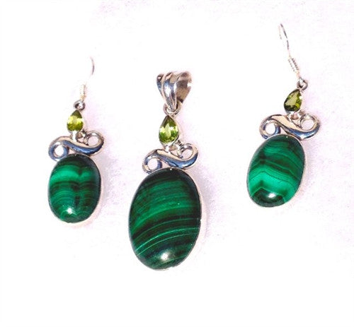 Malachite Earring and Pendant Matching Set - Gift Packaged! - dinosaursrocksuperstore