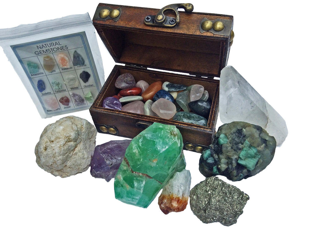 Mineral Collection Gift Pack w/ bonus treasure chest - 20+ pieces - dinosaursrocksuperstore