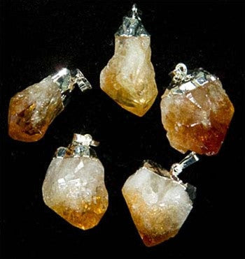 Citrine Point Necklace w/ silver plate chain - Gift packaged! - dinosaursrocksuperstore