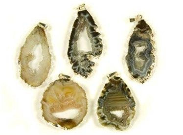 Geode and Quartz Pendant Necklace w/ Silver accents - gift packaged - dinosaursrocksuperstore