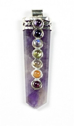 Amethyst Point Chakra Pendant with Gemstones - dinosaursrocksuperstore