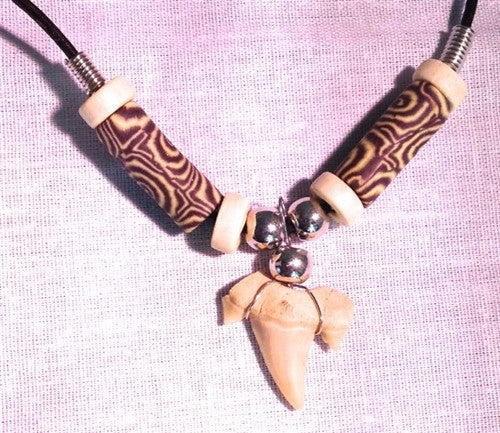 "Shark tooth necklace - with ""tribal"" beads - dinosaursrocksuperstore"