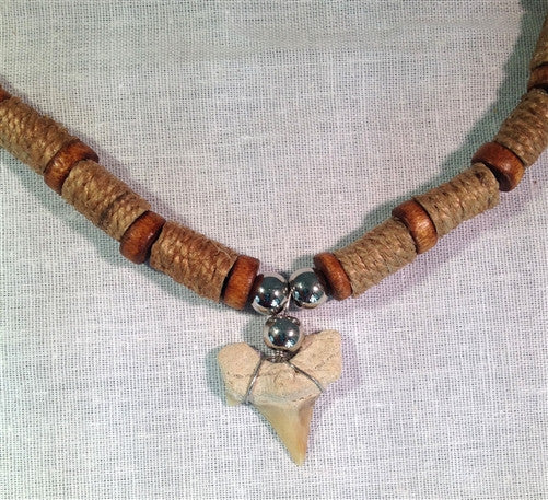 Shark tooth necklace - brown hemp - dinosaursrocksuperstore