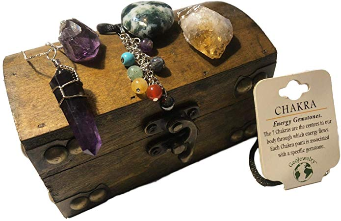 7 Mineral Pendant Gift Collection in Treasure Chest - Plus Bonus Cord & Chain - dinosaursrocksuperstore