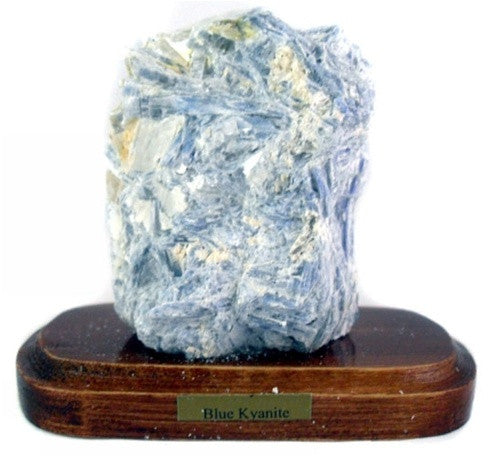Mineral Specimen  - Kyanite on Wooden Base - Gift boxed! - dinosaursrocksuperstore