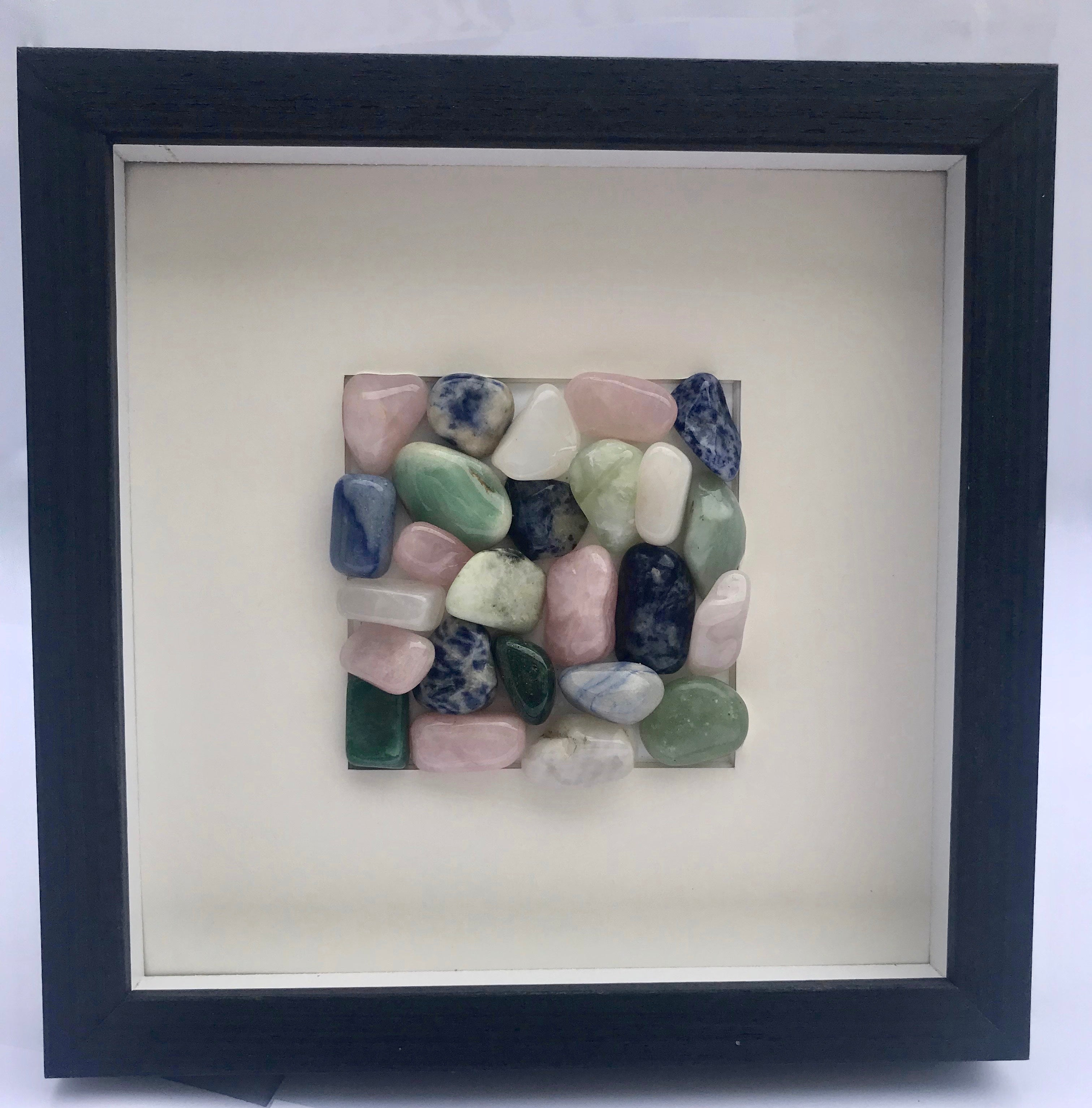 Brazilian Polished Agate Wall Art In Black Wood Shadow Box Frame 8 75 X 8 75