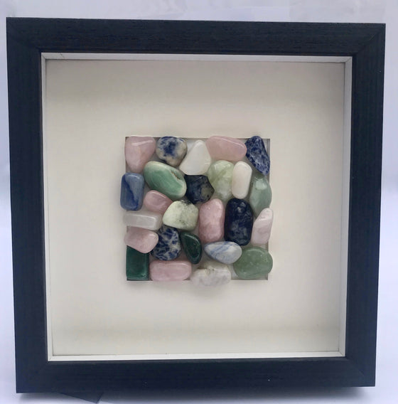 "Brazilian Polished Agate Wall Art in Black Wood Shadow Box Frame - 8.75"" x 8.75"" - dinosaursrocksuperstore"