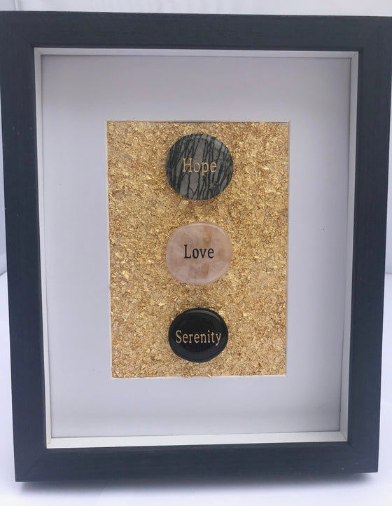 "Original Word Stone and Gold Flake Framed Art - 8.75"" x 10.75"" … - dinosaursrocksuperstore"