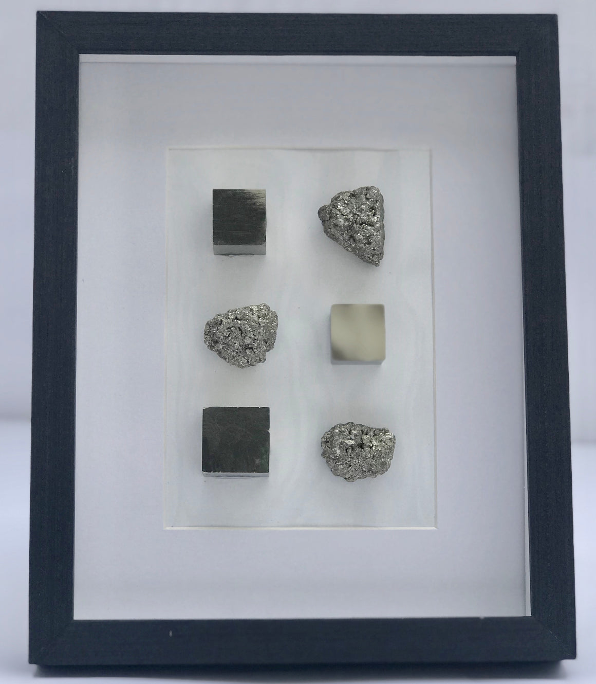 "Spanish Pyrite Cube and Crystal Framed Art in Shadow Box - 8"" x 11"""