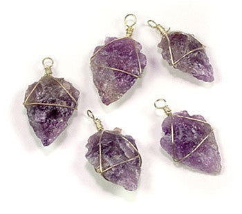 Amethyst Pendant. Wire wrapped amethyst arrowhead pendants. Approximately 30mm long. - dinosaursrocksuperstore