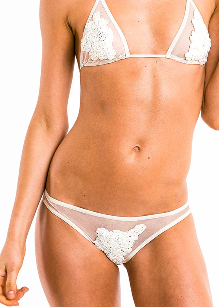 Hera PREMIUM Mesh White Flower Bikini Bottoms - Thrive Swimwear